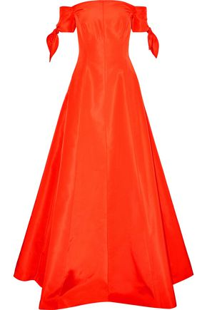 LELA ROSE Off-the-shoulder knotted silk-faille gown
