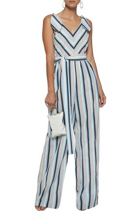 LELA ROSE Knotted striped seersucker jumpsuit