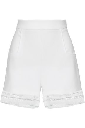 LELA ROSE Embellished crepe shorts