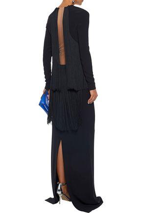 STELLA McCARTNEY Mesh-paneled fringe-trimmed crepe gown