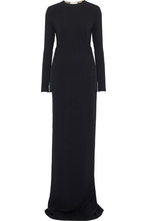 STELLA McCARTNEY Mesh-paneled fringe-trimmed crepe gown