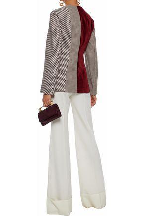 STELLA McCARTNEY Velvet-paneled checked woven top