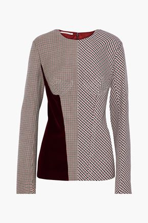 STELLA McCARTNEY Velvet-paneled checked woven top