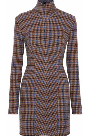 STELLA McCARTNEY Checked wool mini turtleneck dress