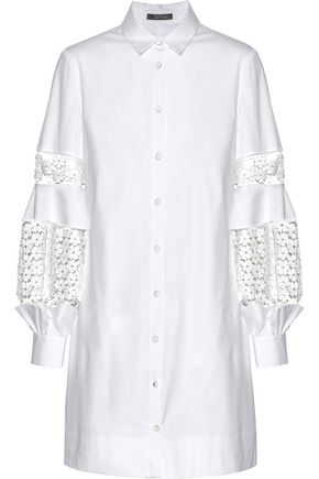 LELA ROSE Guipure lace-paneled cotton-blend poplin dress