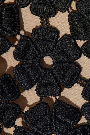 LELA ROSE Embellished guipure lace top