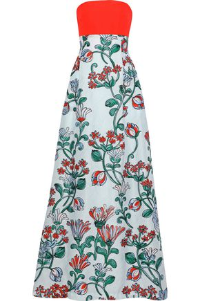 LELA ROSE Strapless twill-paneled cloqué-jacquard gown