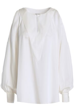 ELIE TAHARI Cold-shoulder silk blouse
