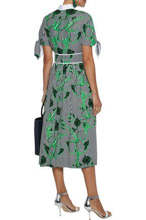 LELA ROSE Knotted printed twill midi shirt dress