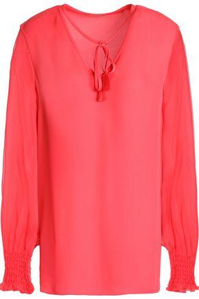 ELIE TAHARI Romeo georgette-paneled silk crepe de chine blouse