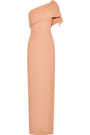 LELA ROSE One-shoulder knotted crepe gown