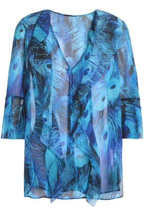 ELIE TAHARI Ruffled printed silk blouse