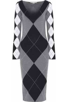 STELLA McCARTNEY Argyle jacquard wool-blend midi dress