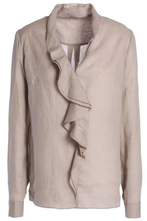ELIE TAHARI Ruffled ramie blouse
