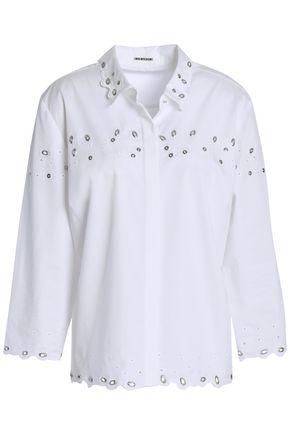 ELIE TAHARI Eyelet-embellished cotton-blend poplin shirt