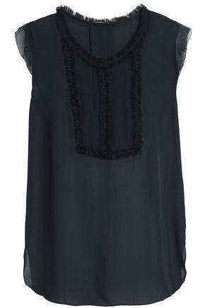 ELIE TAHARI Ruffle-trimmed silk-crepe top
