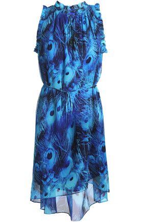 ELIE TAHARI Ruffled printed silk-georgette mini dress