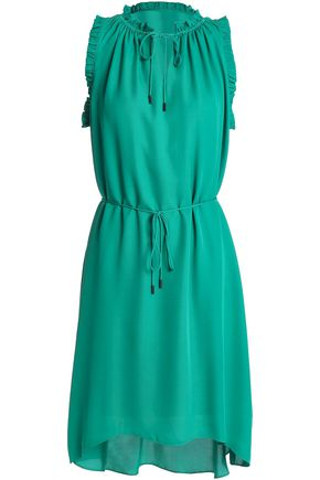 ELIE TAHARI Ruffled crepe de chine mini dress
