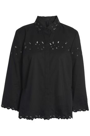ELIE TAHARI Embellished broderie anglaise cotton-blend shirt