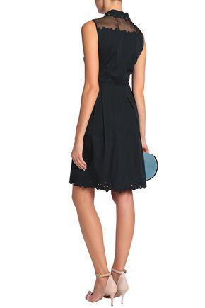 ELIE TAHARI Samiyah organza-paneled eyelet-embellished cotton-blend twill dress