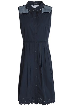 ELIE TAHARI Samiyah organza-paneled eyelet-embellished cotton-blend twill dress