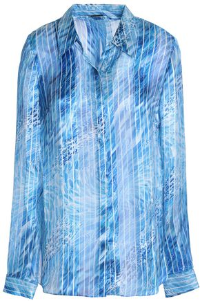 ELIE TAHARI Martha printed paneled silk-satin and chiffon top