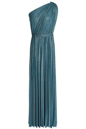 ELIE TAHARI One-shoulder pleated mélange stretch-jersey maxi dress