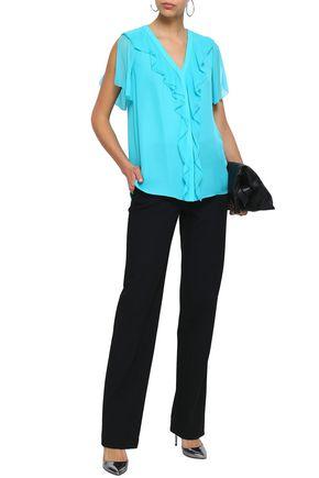 ELIE TAHARI Opaline ruffle-trimmed silk crepe de chine blouse