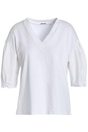 ELIE TAHARI Venetia poplin-paneled stretch-cotton jersey blouse