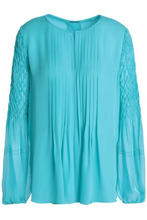 ELIE TAHARI Romeo pleated smocked silk blouse
