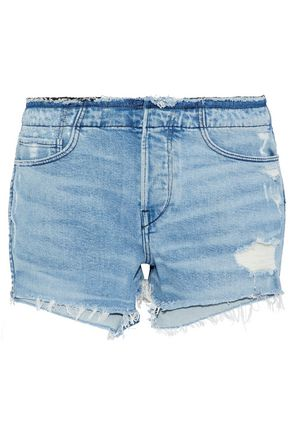 3x1 Stripped Shelter distressed denim shorts