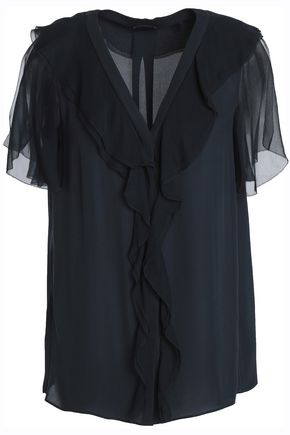 ELIE TAHARI Ruffled silk-georgette and crepe top
