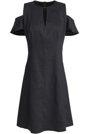 ELIE TAHARI Raylan cold-shoulder cutout linen-blend mini dress