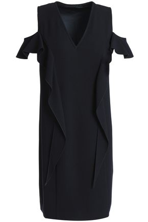 ELIE TAHARI Micaela cold-shoulder ruffle-trimmed crepe mini dress