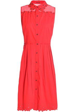 ELIE TAHARI Organza-trimmed embellished cotton-blend poplin shirt dress
