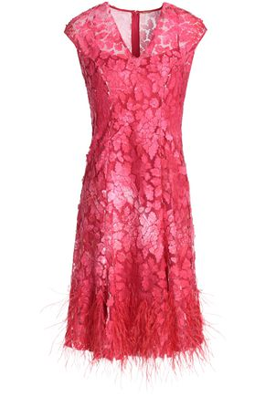 ELIE TAHARI Feather-embellished embroidered tulle dress