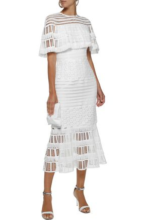 LELA ROSE Embellished open-knit and guipure lace midi dress