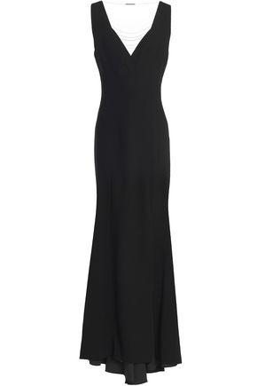 ELIE TAHARI Marvela tulle-paneled chain-embellished crepe gown