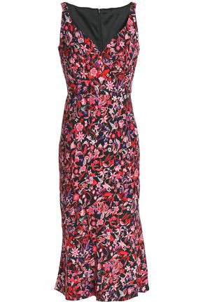 ELIE TAHARI Yirma floral-print ruched woven midi dress