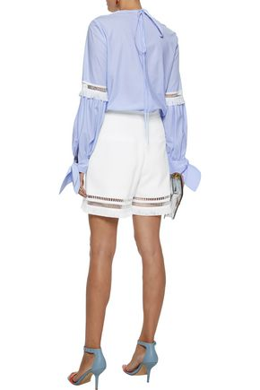 LELA ROSE Embellished striped cotton-poplin blouse