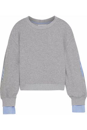 DEREK LAM 10 CROSBY Striped poplin-paneled French cotton-blend terry sweatshirt