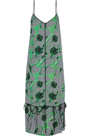 LELA ROSE Convertible bow-detailed printed twill midi dress