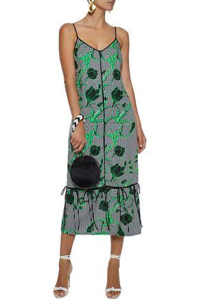 LELA ROSE Convertible bow-detailed printed twill midi dress