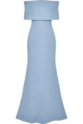 LELA ROSE Off-the-shoulder wool-blend crepe gown