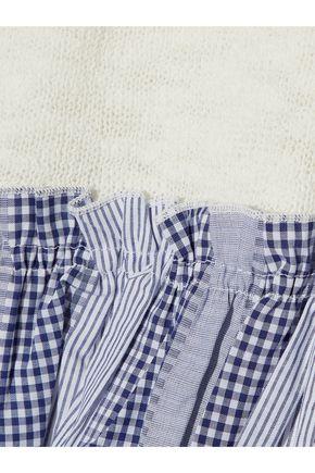 DEREK LAM Two-tone jacquard-trimmed pointelle-knit cotton-blend top