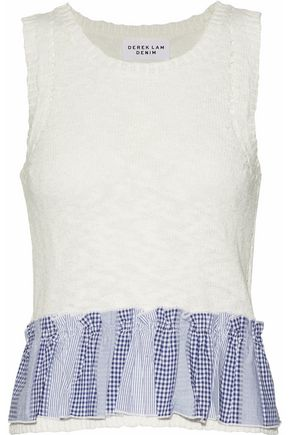 DEREK LAM Two-tone jacquard-trimmed pointelle-knit cotton-blend top