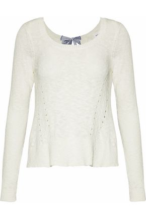 DEREK LAM 10 CROSBY Tie-back pointelle-knit cotton-blend sweater
