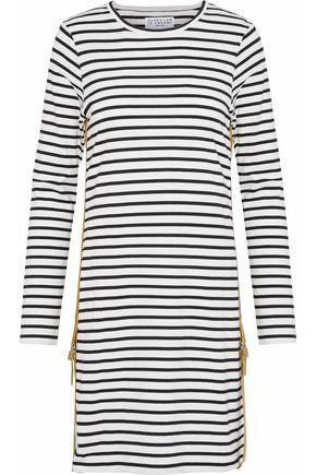 DEREK LAM 10 CROSBY Buckle-detailed striped cotton-jersey mini dress