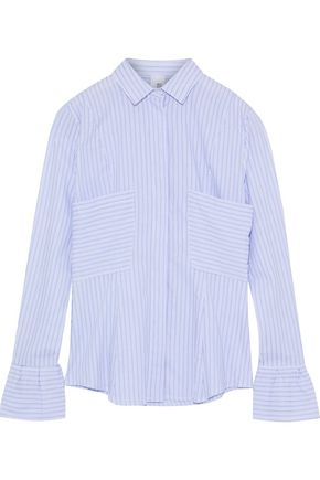 IRIS & INK June striped cotton-poplin blouse