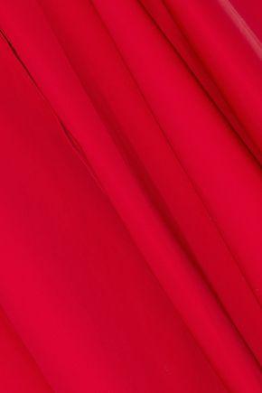 BADGLEY MISCHKA Asymmetric bow-detailed cotton-blend poplin dress